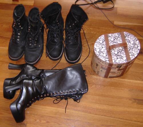 Three pairs of boots and my kit box