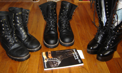 Three pairs of shined boots and Bootblacking 101